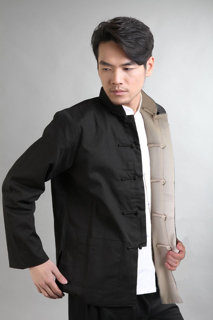 Black Red Vintage Chinese Two-Face Coat Men Cotton Linen Reversible Kung Fu Jacket Size S M L XL XXL XXXL