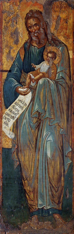 The Prophet Simeon the God-receiver ~ 16th century icon from the Church of St. Matthew of Sinai, City of Heraklion (Iraklion), Crete, Greece