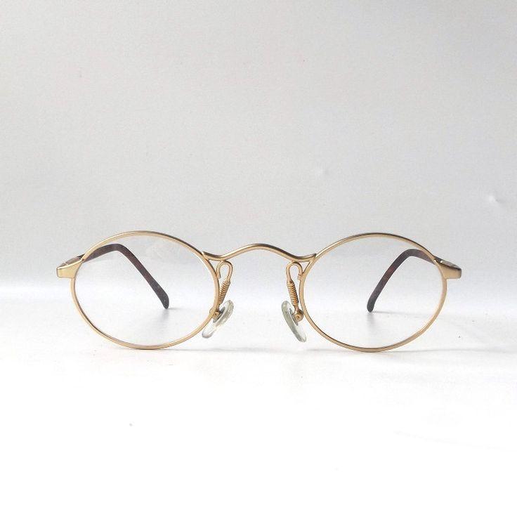 vintage 1990's NOS matte gold oval metal eyeglasses wire frames mens womens modern retro eye glasses eyewear round flex arm tortoise shell by RecycleBuyVintage on Etsy