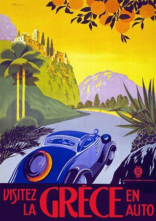 Visit Greece by Car c.1930s  http://www.vintagevenus.com.au/vintage/reprints/info/TV231.htm
