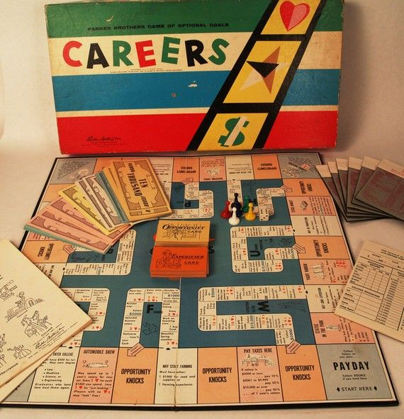 Careers - this game shaped my view of not just work, but life. You started by creating a formula of points measured in $ (wealth), stars (fame) and hearts (happiness). Then you  went through the career paths most likely to yield your desired combination. Experience and Opportunity cards also factored in. Just like real life..... right? You can't have it all.... you have to decide what is most important to you and proceed accordingly.