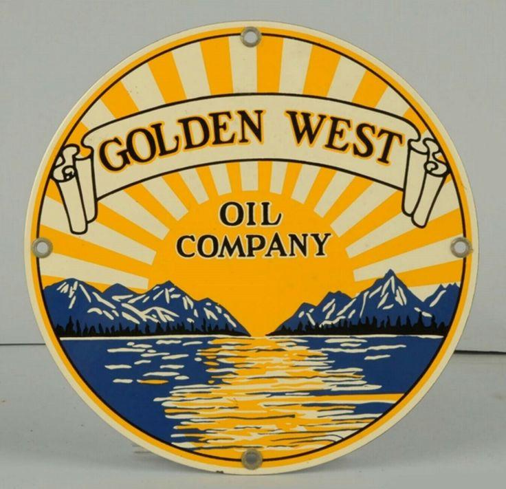 Original Golden West Oil Company Porcelain Pump Plate