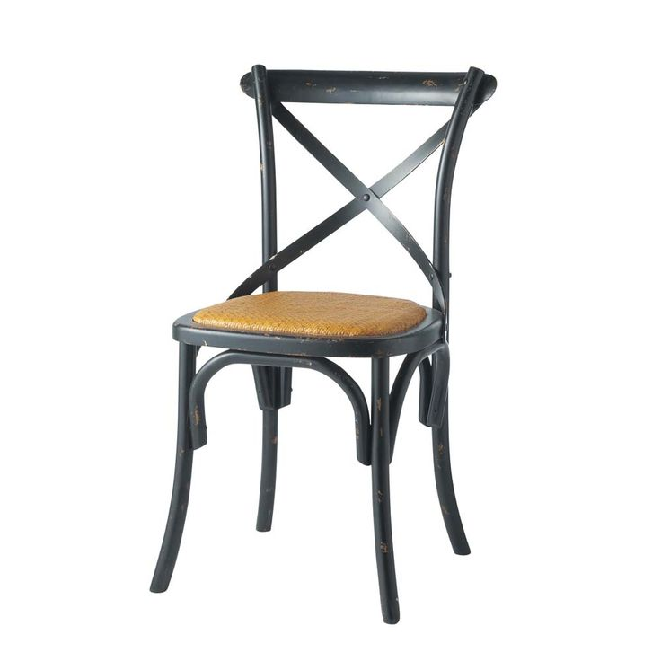Natural rattan and wood chair in black Tradition | Maisons du Monde