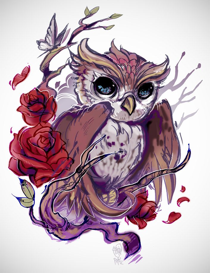 owl manga | Owl with roses for my client that has yet to be... - NO MORE P-ROS