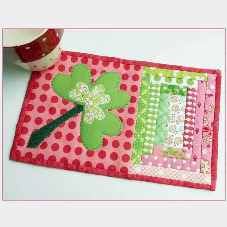 St. Patrick's Day pretty in pink all-year-long mug rug.