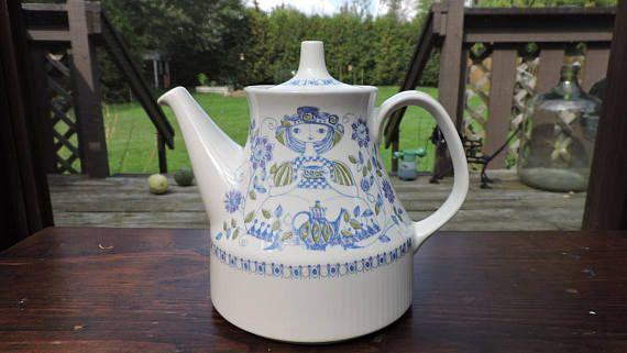 Vintage Figgjo LOTTE Teapot Blue Green & Purple  Made in