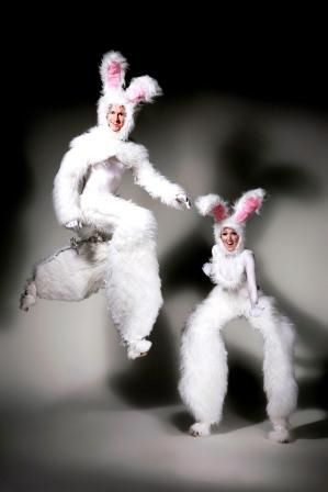 EASTER THEMED ENTERTAINMENT -  White rabbit bunny stilts.  Perfect if  you are celebrating with a corporate party, spring launch of a product, encouraging footfall to a shopping area  UK ENTERTAINMENT AGENCY BASED BANG IN THE MIDDLE OF LONDON spreading EASTER EGGS to everyone across MANCHESTER, CHESHIRE, BIRMINGHAM, BRISTOL, BRIGHTON & LONDON  Tel:  020 3602 9540  http://www.calmerkarma.org.uk/