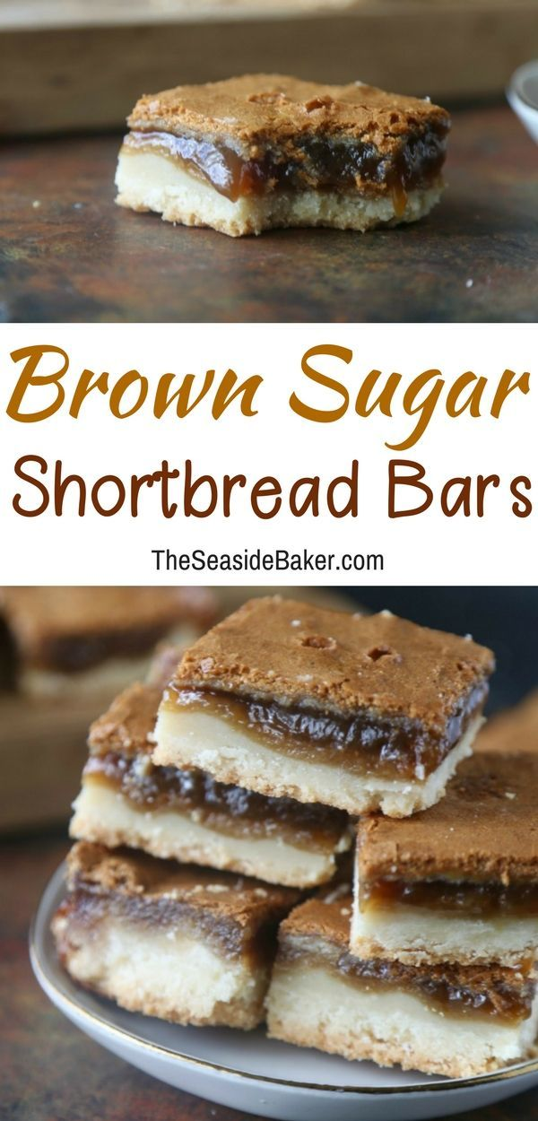 Brown Sugar Shortbread Bars | Sweet, gooey treats with an irresistible brown sugar flavor! The brown sugar filling separates while baking and gives the illusion of a triple-layer bar. Three layers of goodness for only two layers worth of effort! |#shortbread#dessertrecipes| See this and other delicious recipes at TheSeasideBaker.com