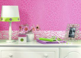 Hot Pink And White Zebra Print Girls Bedroom Wallpaper Border With Cheetah Print  Wallpaper And Lime