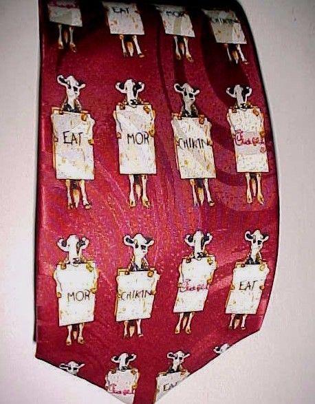 Chick-fil-A Eat Mor Chikin Maroon Polyester Motif Necktie TL Blade Sportswear #Blade #Tie
