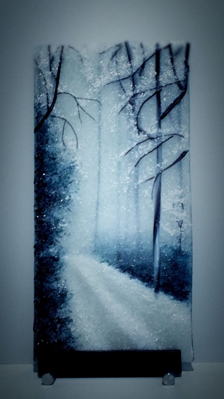"""""""""""Winter Blues"""""""" Frit Painting by Diane Quarles"""