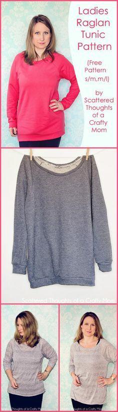 Easy Ladies Raglan Tunic Pattern - Top 40 Free T-Shirt Sewing Patterns for Women & Kids - Page 2 of 8 - DIY & Crafts