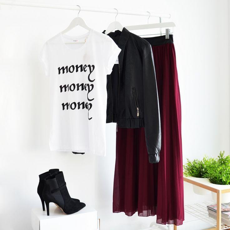 SKIRT MAXI WINE PLEATED I SIMPLE TEEI BOMBER JACKET I  MONASHE.PL - Sklep online z modną odzieżą. Bluzki, sukienki, torebki, obuwie, akcesoria.