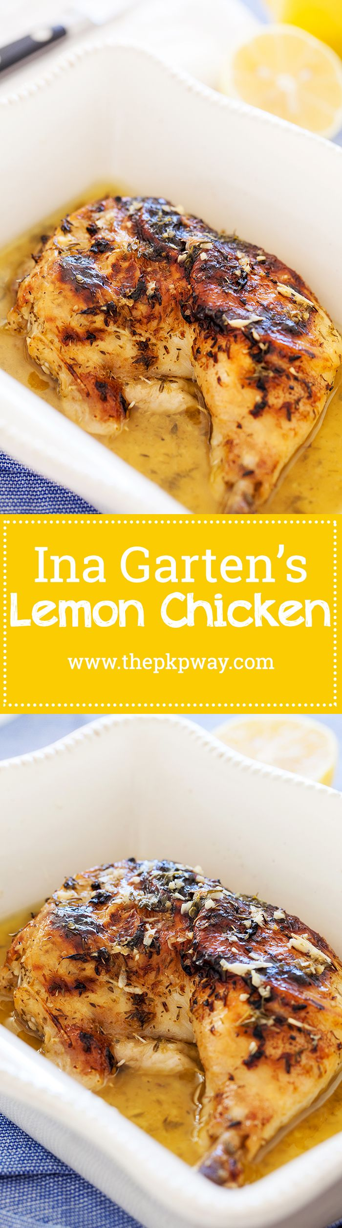Ina's lemon chicken is a no fuss dish that's comforting, familiar, and utterly satisfying. Make ahead of time or right before serving.