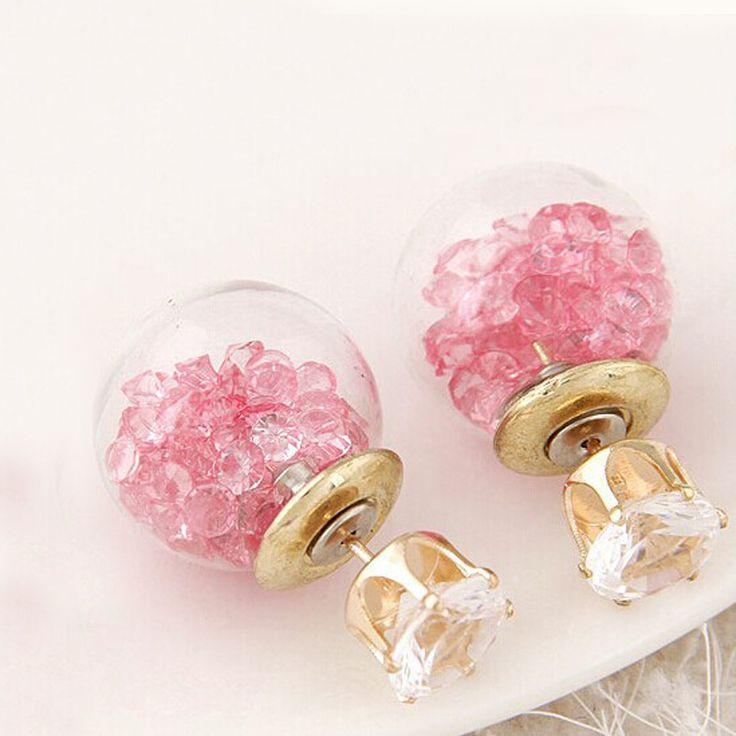 Hot Flower Crystal Piercing Glass Earrings Studs Ball Double Sided Earring Ladies Rhinestone Jewelry