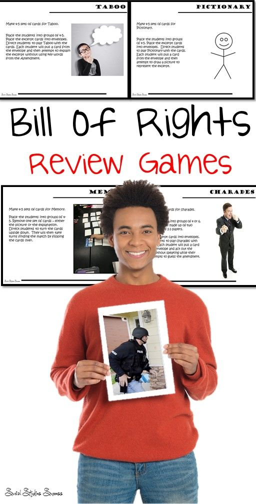This product will give you multiple games to review the Bill of Rights with your students! All of these games will help your students prepare for any test or quiz on the Bill of Rights. These purchase include pictures, excerpts and explanation cards for the Bill of Rights.