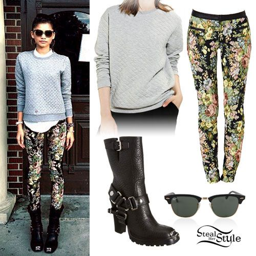 Zendaya Quilted Sweater Harness Boots Style Steal Zendaya Style Steal Pinterest