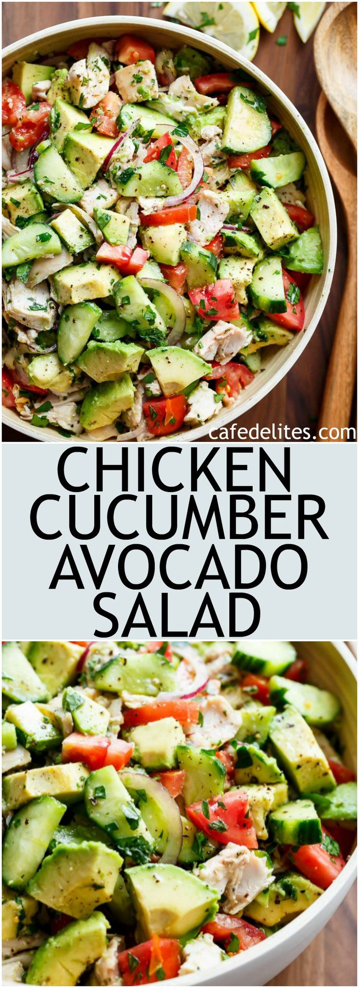 Quick And Simple Chicken Cucumber Avocado Salad is so easy to make! A perfect salad to throw together at any time of the day with NO COOKING! | https://cafedelites.com
