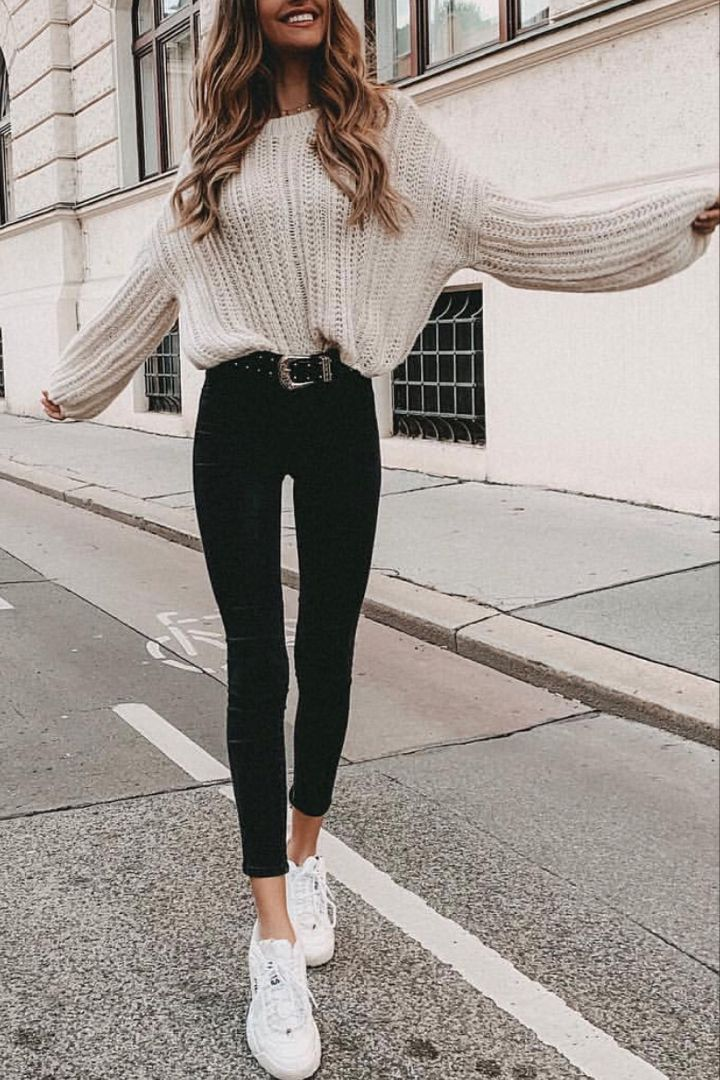 Beige pullover with black trousers # 25outf …