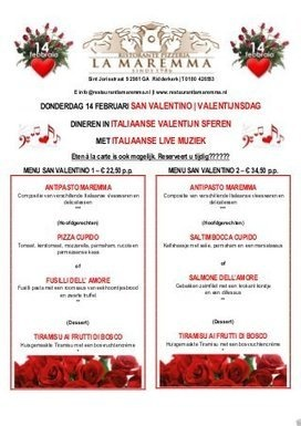 Menu san valentino 2013 - Ristorante Pizzeria La Maremma Ridderkerk