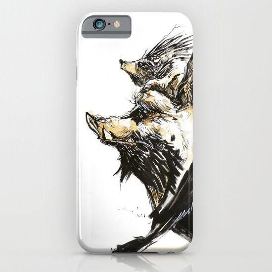 Cellphone case, drawing  graphite  ink/pen  comic   illustration  figurative  hedgehog  boarhog   wild-boar  porcupine  punk