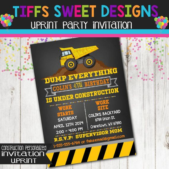 Construction Party Invitation  Dump Truck by TiffsSweetDesigns