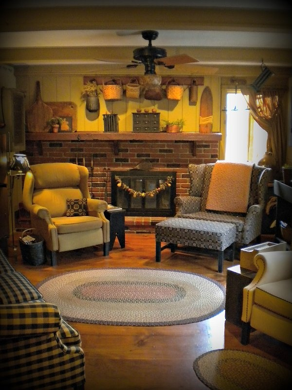 Love Those Baskets Above The Mantel Plaid Chair