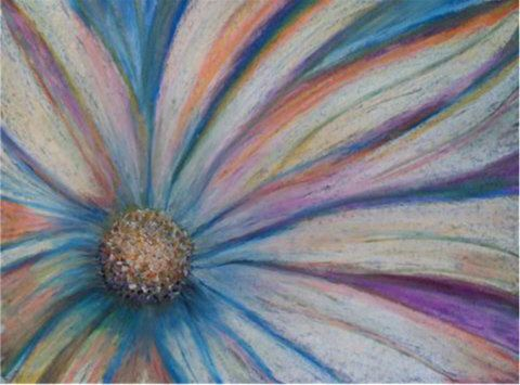 Daisy Oil Pastel Drawing Original Pink Blue Flower Floral