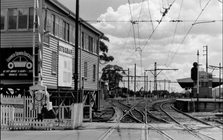 Box Hill station signal box and platform from level crossing 1975