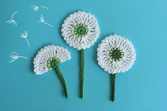Crochet flower PATTERN Dandelion applique, Crochet Embellishment, DIY flower tutorial, Diagram and Photo tutorial, Instant Download