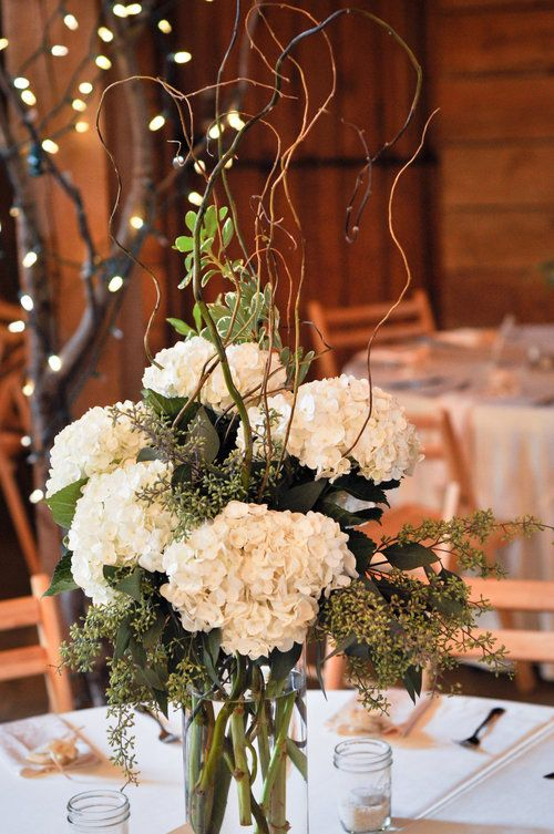 Organic Garden tall centerpiece: hydrangea, curly willow, eucalyptus
