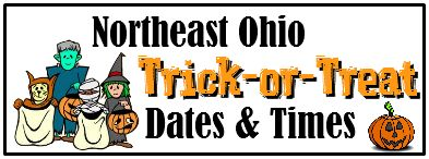 Trick or Treat Dates for Northeast Ohio 2013