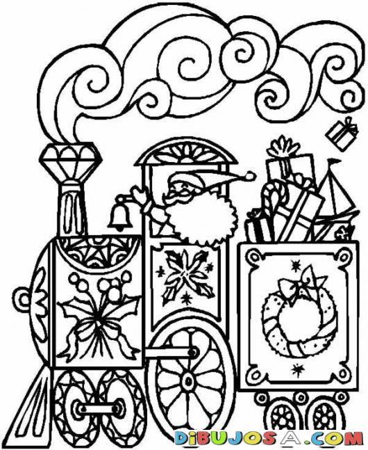 Dibujo Del Tren De Papa Noel Para Colorear | COLOREAR DIBUJOS DE NAVIDAD | Dibujo Del Tren De Papa Noel Para Colorear | dibujosa.com