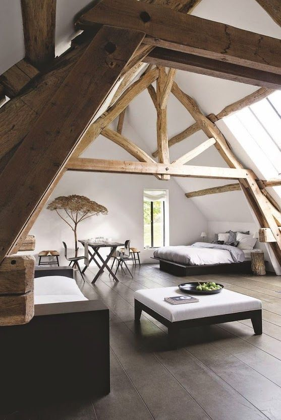Great natural styled studio apt under a gable roof! I love the ambiance,…| #modernrustic #loft
