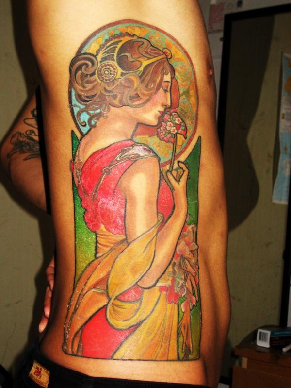 Alphonse Mucha tattoo by Hannah Aitchison