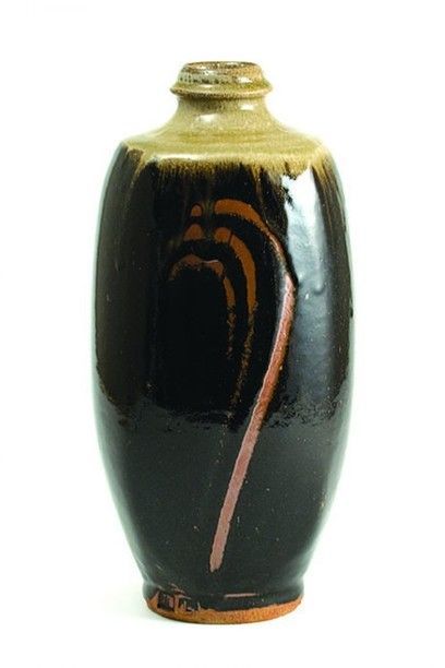 Jim Malone, Footed Bottle, tenmoku with ash glaze with a finger wipe design