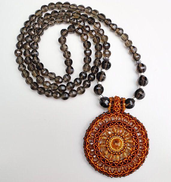 108 Stone Smokey Quartz Mala Necklace with by beadonawiredotca, $65.00
