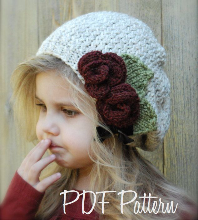 Knitting PATTERN-The Nadilynn Slouchy (12/18 months, Toddler, Child, Adult sizes). $5.50, via Etsy.