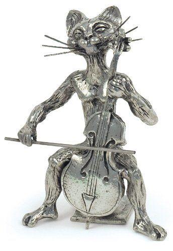 figurine musicale - chat violoncelle miniature - etain 95,5 ... - Cuisine Fabrication Francaise