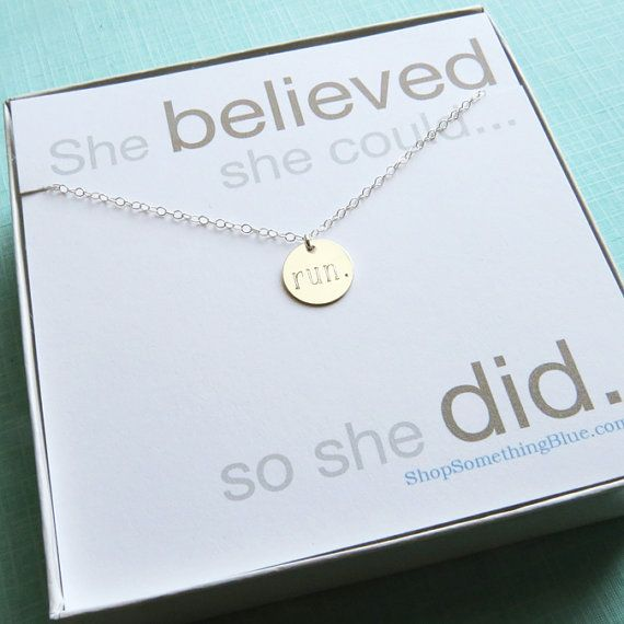 Engraved Run Necklace, 5k, 10k, Half Marathon, Marathon in Sterling Silver, Runners Necklace, Run Jewelry, Running, Sentiment Card on Etsy, $36.50