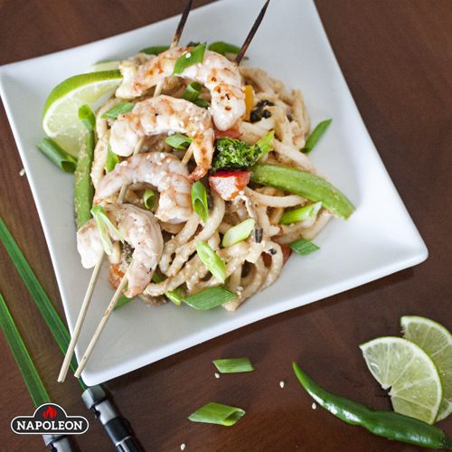 Thai Peanut Grilled Shrimp With Stir-fried Noodles & Veggies