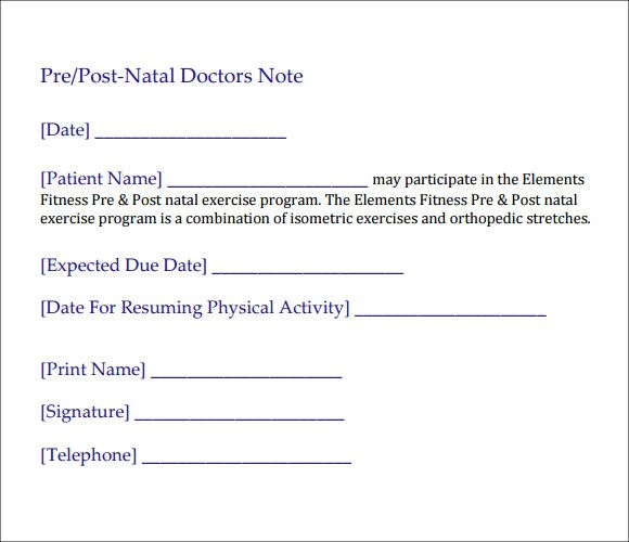 10  doctor note templates