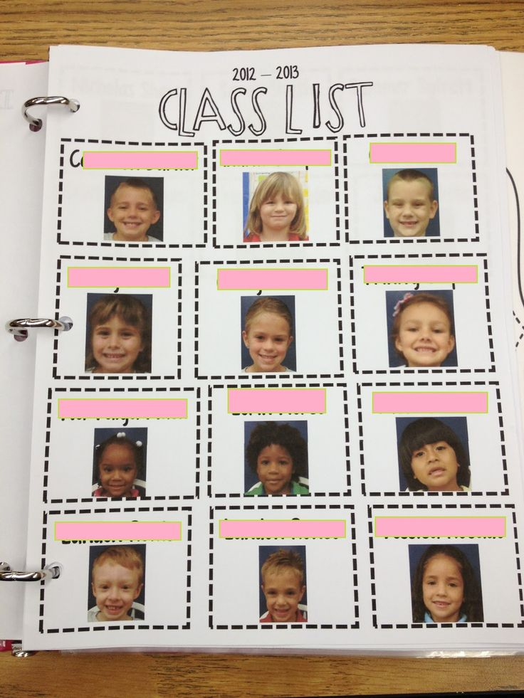 awesome idea - a class list with each students picture. Perfect for a sub binder. Perfect for volunteer also!!!