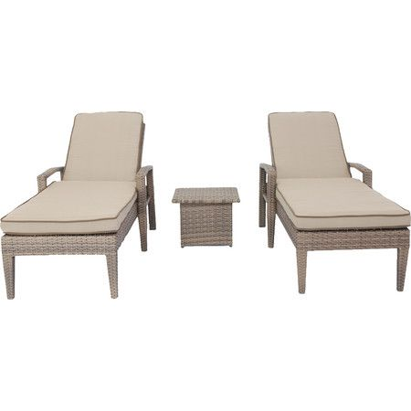 Take a breezy break on the patio or deck with this pair of cushioned chaises, complete with a coordinating end table for resting drinks and magazine.