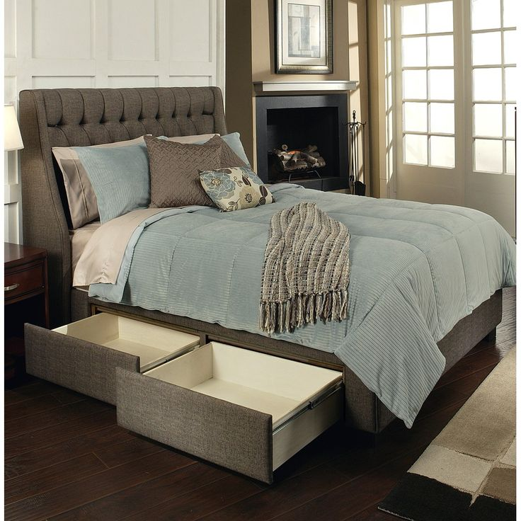 Cambridge Fabric Upholstered Storage Bed In Charcoal Brown