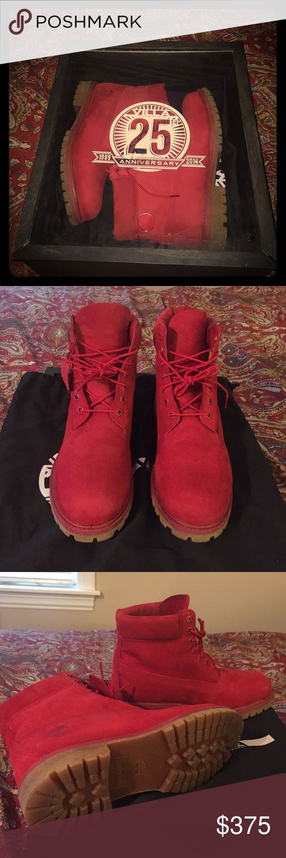 "Mens ruby red timberland boots size 11 RARE!! Mens timberland boot in red/mono Premium 6"" that dropped in 2015!! These boots are hot and we're sold old immediately! I only tried these boots on never wore them once check the pictures!! These are gems i will sit on them until I get the right price i want. If you can buy for cheaper in size 11 on different site please do! But you won't find them brand new for this price with receipt/ proof of purchase !! Timberland Shoes Boots"