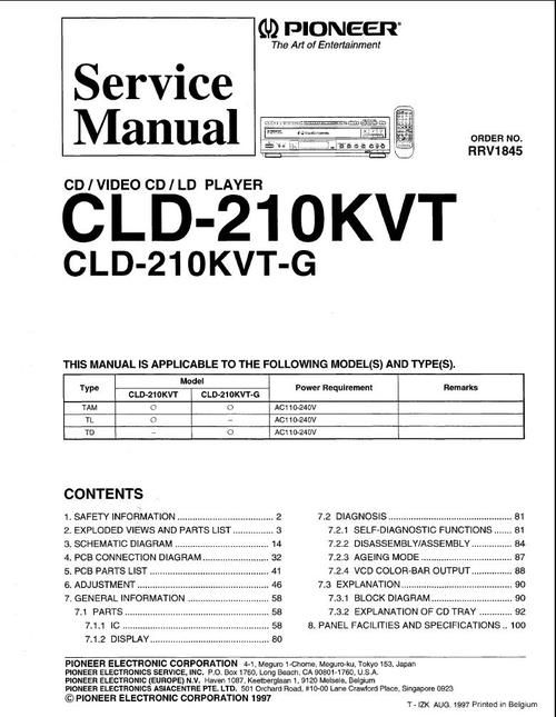Pioneer CLD-210-KVT Laser Disc , Service Manual  * PDF format suitable for all Windows , Linux DOWNLOAD