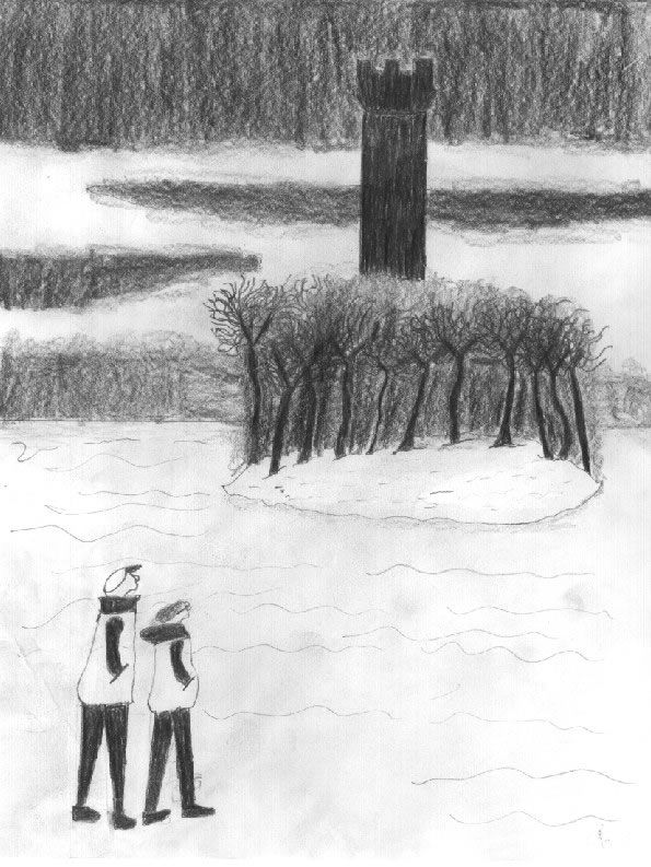 From the archives: a rendering of Anthony and Ms. Eells standing in front of the ominous Nightwood tower by David Bass.