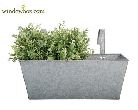 Zinc Rectangular Balcony Flower Box Planter - Railing Planter Boxes - Pots & Planters - Windowbox.com