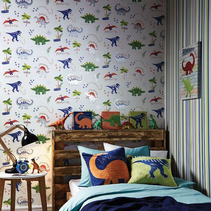 96913f84b1b86095f017c9ef80309a1e Dino Doodles Wallpaper - Multi - Arthouse 667500 This fun wallpaper features a c... Dinosaurs